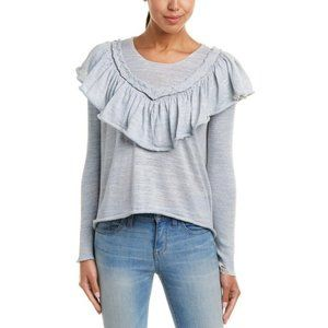 WILDFOX Blue Lais Ruffled Crop Top Sweater Large